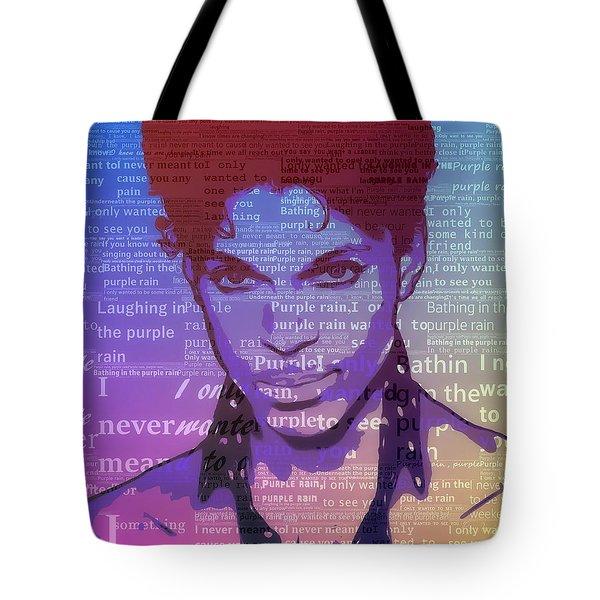 Purple Rain Typography Tote Bag