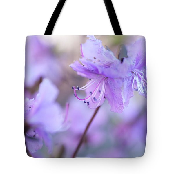 Tote Bag featuring the photograph Purple Rhododendron 1. Spring Watercolors by Jenny Rainbow