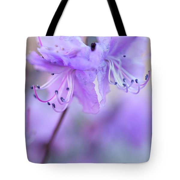 Tote Bag featuring the photograph Purple Rhododendron. Spring Watercolors by Jenny Rainbow