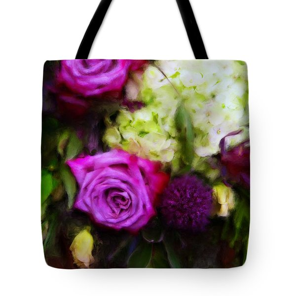 Purple Roses With Hydrangea Tote Bag