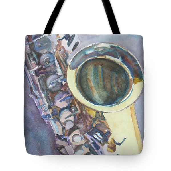 Purple Sax Tote Bag by Jenny Armitage
