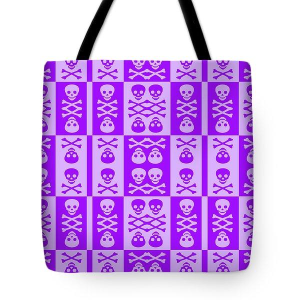 Purple Skull And Crossbones Pattern Tote Bag