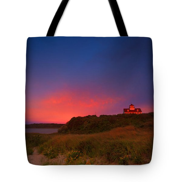 Purple Sky Over Coast Guard Eastham Tote Bag by Dapixara Art