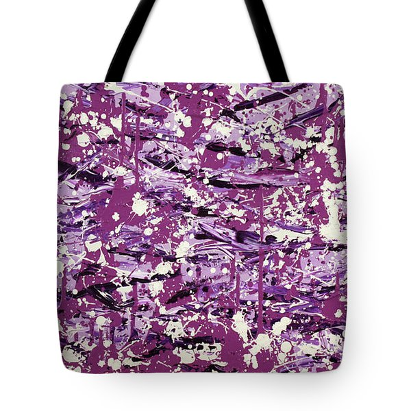 Tote Bag featuring the painting Purple Splatter by Thomas Blood