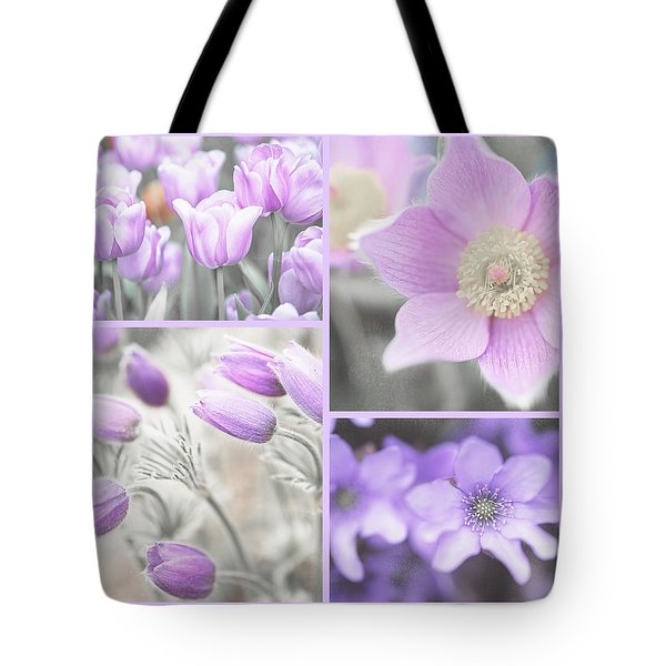 Tote Bag featuring the photograph Purple Spring Bloom Collage. Shabby Chic Collection by Jenny Rainbow
