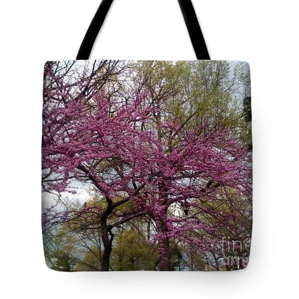 Purple Spring Trees Tote Bag