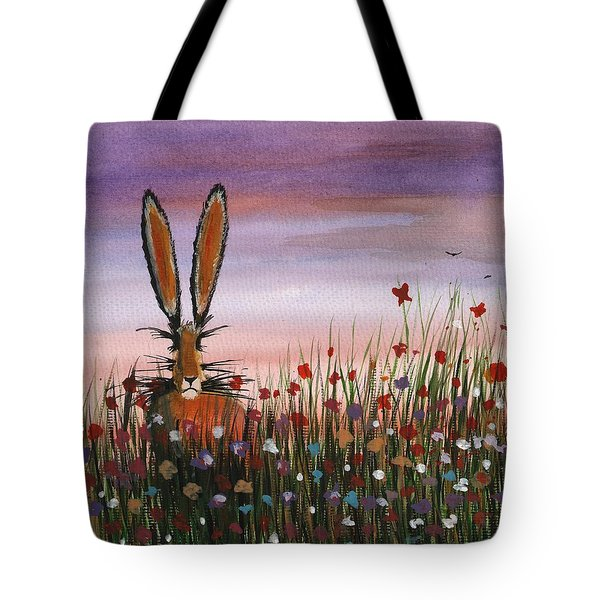 Purple Sunset Hare Tote Bag