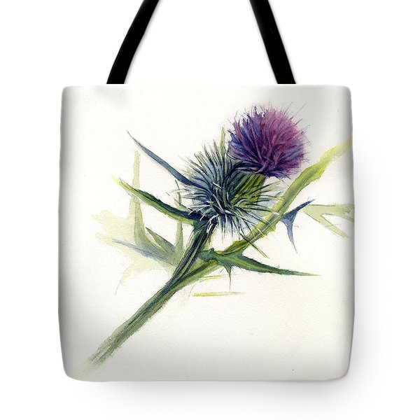 Purple Thistle Tote Bag by Leslie Redhead