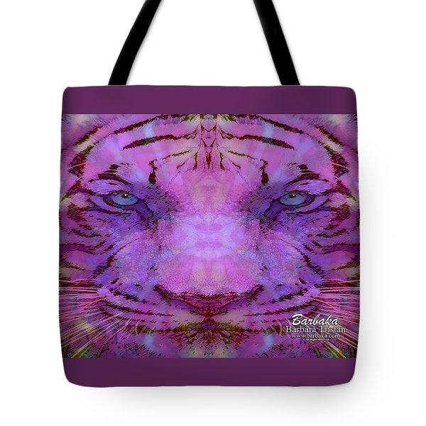 Purple Tiger Tote Bag by Barbara Tristan