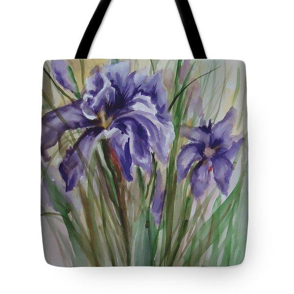 Purple Times 3 Tote Bag