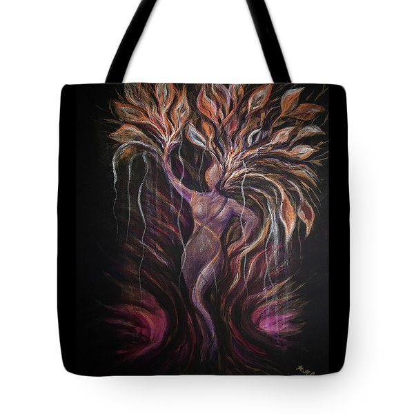 Purple Tree Goddess Tote Bag