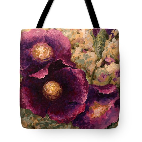 Purple Trio-flowers Tote Bag
