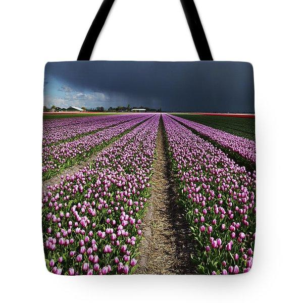 Purple Tulips Field Tote Bag