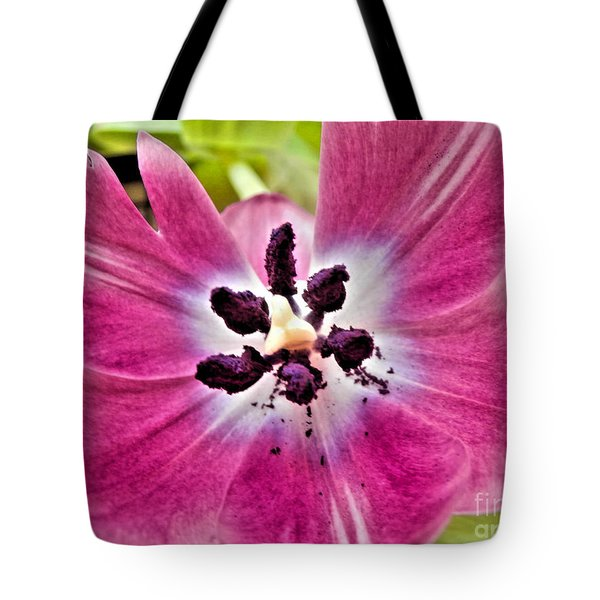 Tote Bag featuring the photograph Purple Tulip by Nina Ficur Feenan