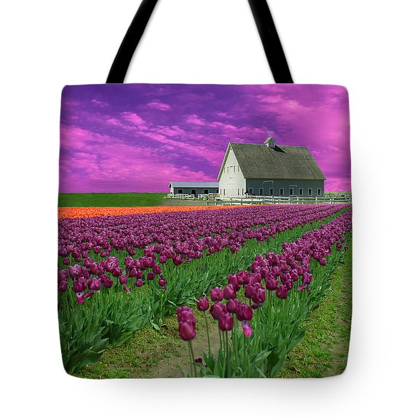 Purple Tulips With Pink Sky Tote Bag