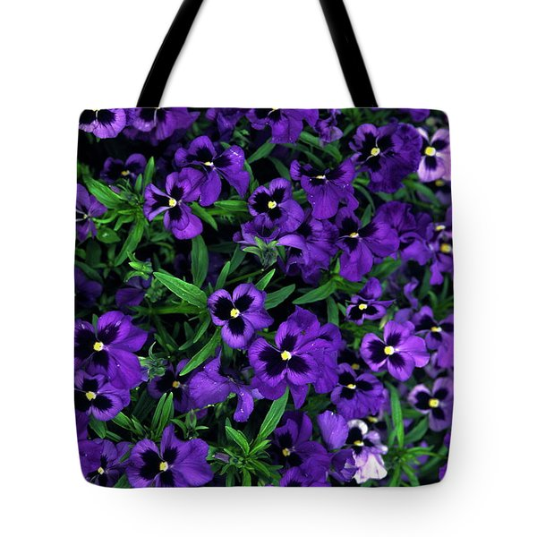 Purple Viola Flowers Tote Bag by Sally Weigand