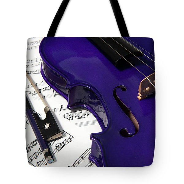 Purple Violin And Music V Tote Bag