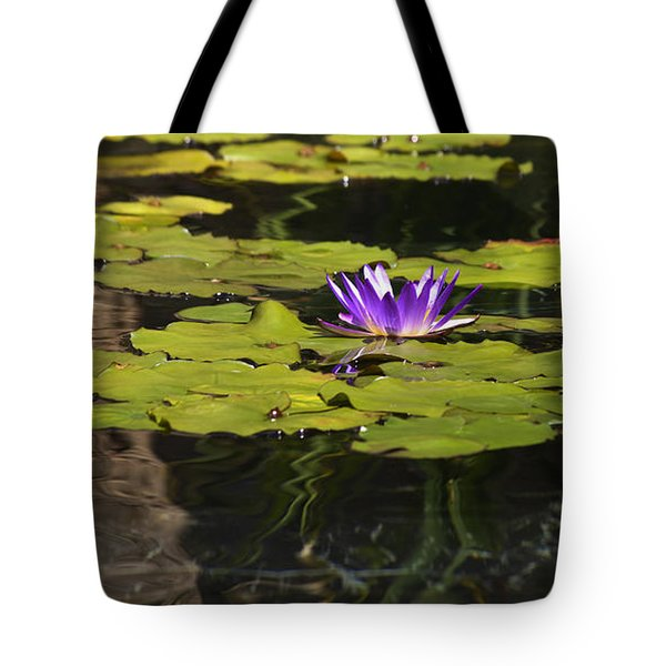 Purple Water Lilly Distortion Tote Bag by Teresa Mucha