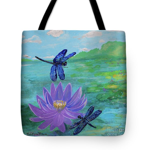 Purple Water Lily And Dragonflies Tote Bag