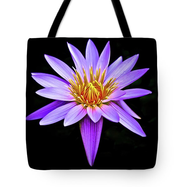Purple Waterlily With Golden Heart Tote Bag