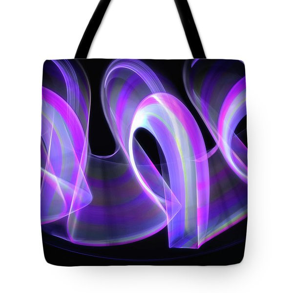 Purple Waves Abstract Tote Bag
