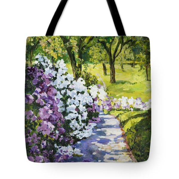 Purple White Tote Bag