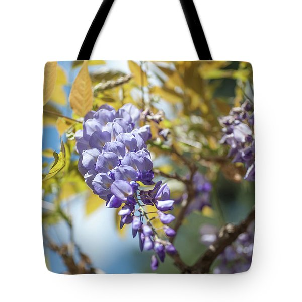 Tote Bag featuring the photograph Purple Wisteria Flowers by Jenny Rainbow