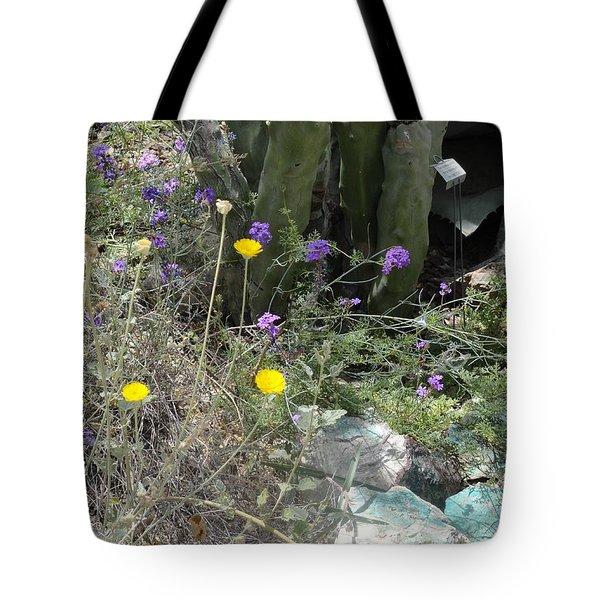 Purple Yellow Flowers Green Cactus Tote Bag