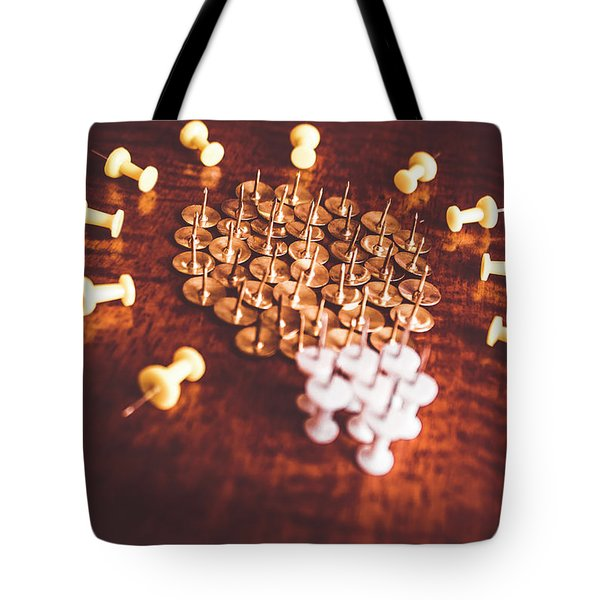 Pushpins And Thumbtacks Arranged As Light Bulb Tote Bag
