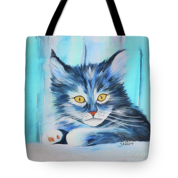 Tote Bag featuring the painting Pussy Cat by Jutta Maria Pusl