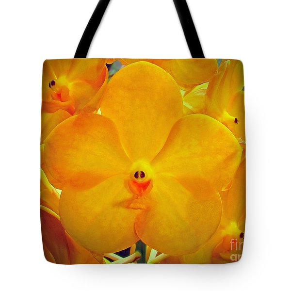 Put On A Happy Face Yellow Orchids Tote Bag