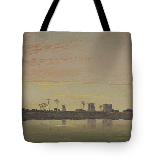 Pylons At Karnak, The Theban Mountains In The Distance Tote Bag