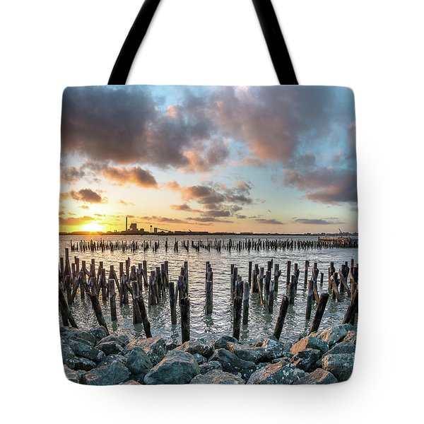 Tote Bag featuring the photograph Pylons Mill Sunset by Greg Nyquist