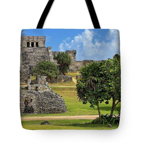 Tote Bag featuring the photograph Pyramid El Castillo - Tulum Mayan Ruins - Mexico by Jason Politte