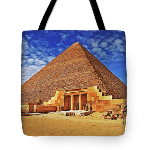 Tote Bag featuring the painting Pyramid by Harry Warrick