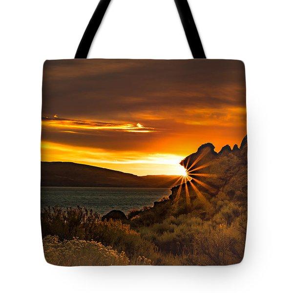 Pyramid Lake At Sunrise Tote Bag by Janis Knight