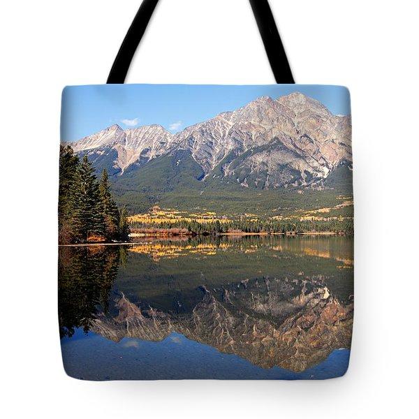 Pyramid Mountain And Pyramid Lake 2 Tote Bag