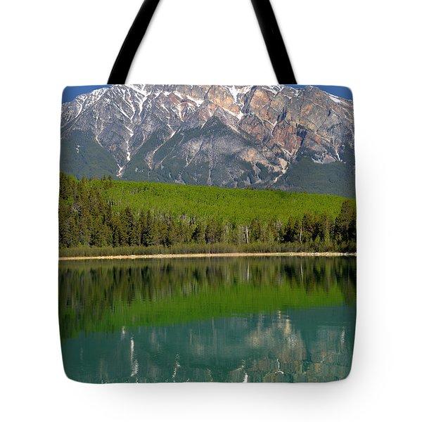 Pyramid Mountain Reflection Tote Bag