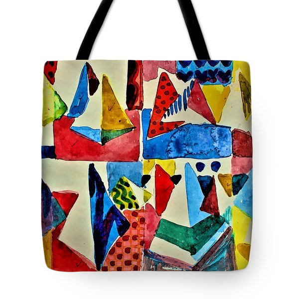 Tote Bag featuring the digital art Pyramid Play by Mindy Newman