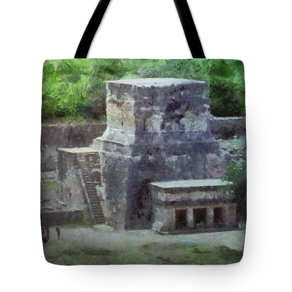 Tote Bag featuring the painting Pyramid View by Jeffrey Kolker
