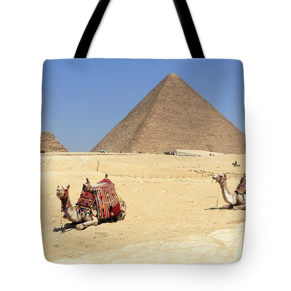 Tote Bag featuring the photograph Pyramids Of Giza by Silvia Bruno