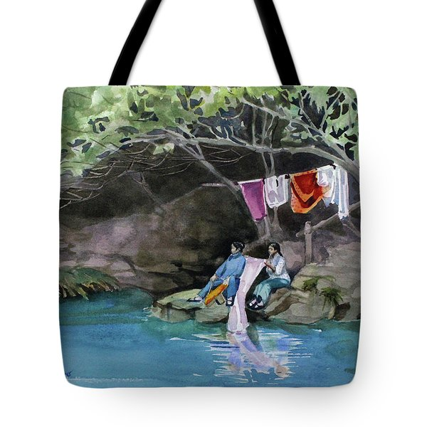 Tote Bag featuring the painting Laundry Day by Kris Parins
