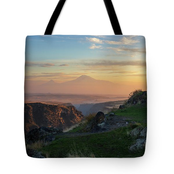 Qasakh Gorge And Ararat Mountain At Golden Hour Tote Bag