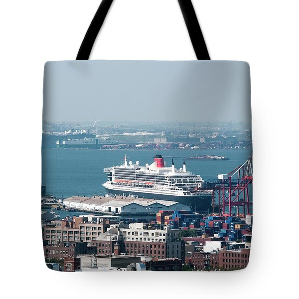 Tote Bag featuring the photograph Qe2 Dock And Stock by Steve Sahm