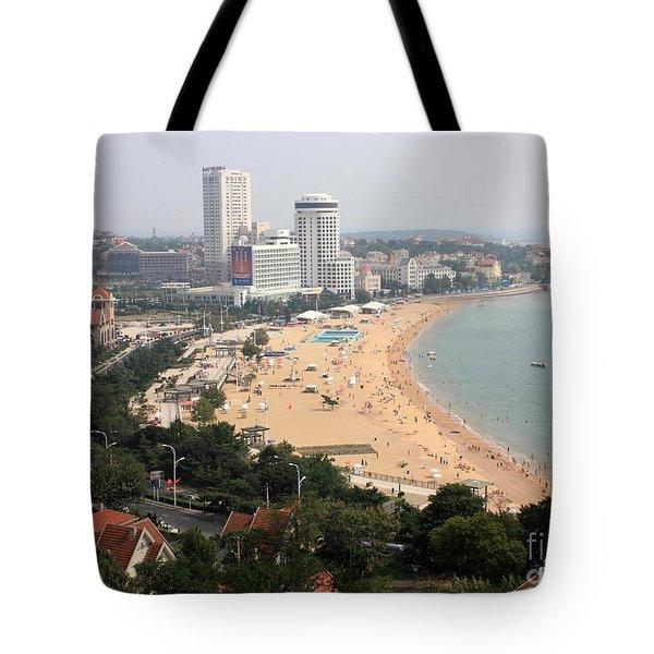 Qingdao Beach With Skyline Tote Bag by Carol Groenen