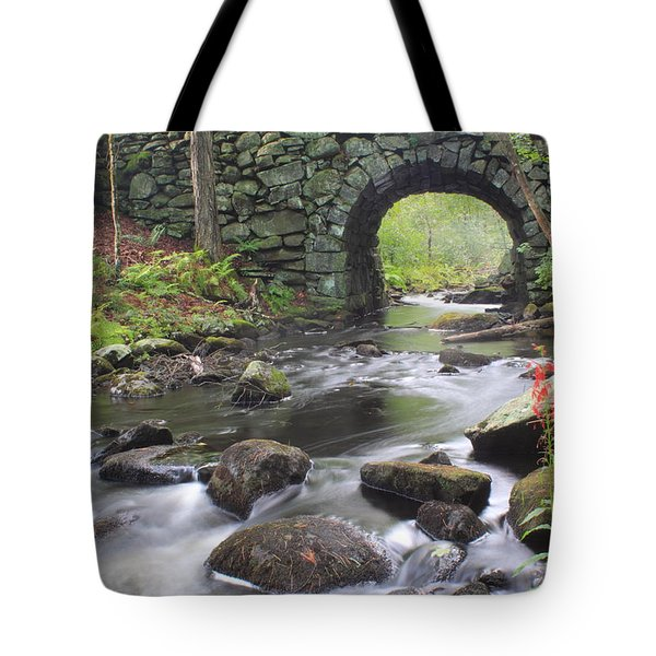Quabbin Reservoir Keystone Bridge And Cardinal Flowers Tote Bag