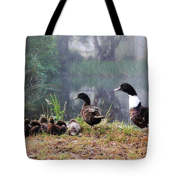 Quack Quack Ducks And A Pond Tote Bag by Lexa Harpell