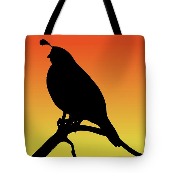 Quail Silhouette At Sunset Tote Bag