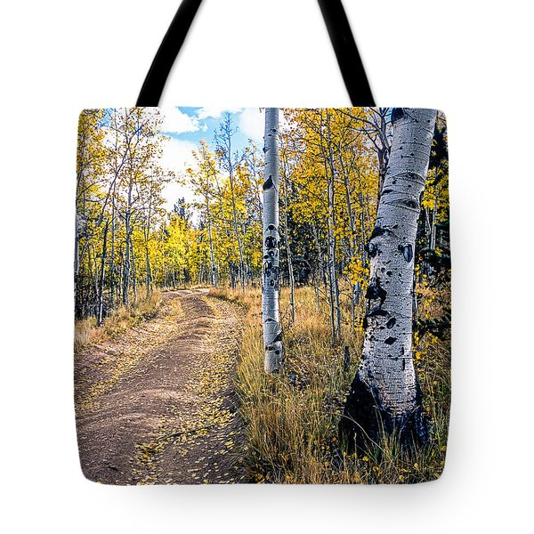 Aspens In Fall With Road Tote Bag by John Brink