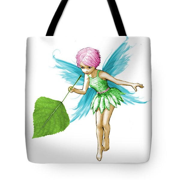 Quaking Aspen Tree Fairy Holding Leaf Tote Bag